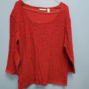 Croft & Barrow 3/4 sleeve red shirt size 1X